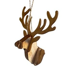 Wooden moose ornament for Christmas
